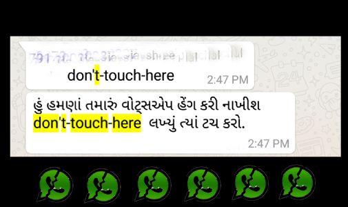 વોટ્સ એપમાં don't touch here પર ટચ કરવાથી મોબાઇલ હેંગ કેમ થઈ જાય છે?